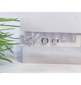 EMA0035 - Silver Diamante, Flower, Circle,  Multi-Pack Earring