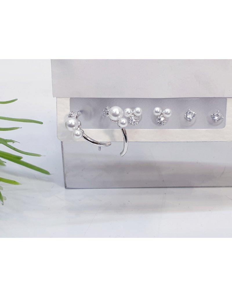 EMA0036 - Silver Diamante, Pearl, Pearl Hoop,  Multi-Pack Earring