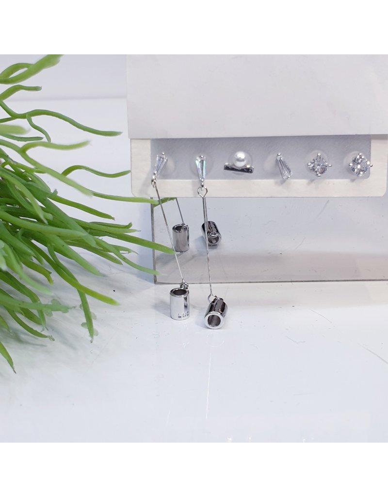 EMA0034 - Silver Diamante, Pearl, Crystal,  Multi-Pack Earring