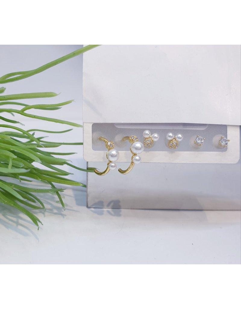 EMA0037 - Gold Gold, Pearl, Diamante, Hoop Pearl,  Multi-Pack Earring