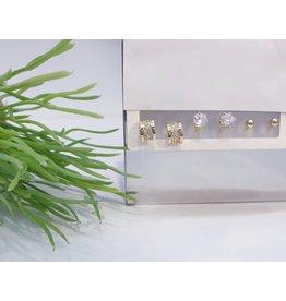 EMA0038 - Gold Diamante, Ball Stud, Semi Hoop,  Multi-Pack Earring