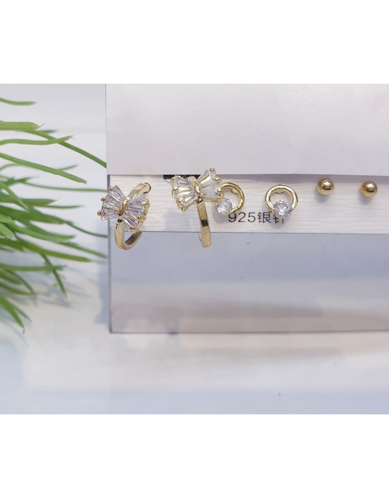 EMA0043 - Gold Bow Hoop, Ball Stud,  Multi-Pack Earring