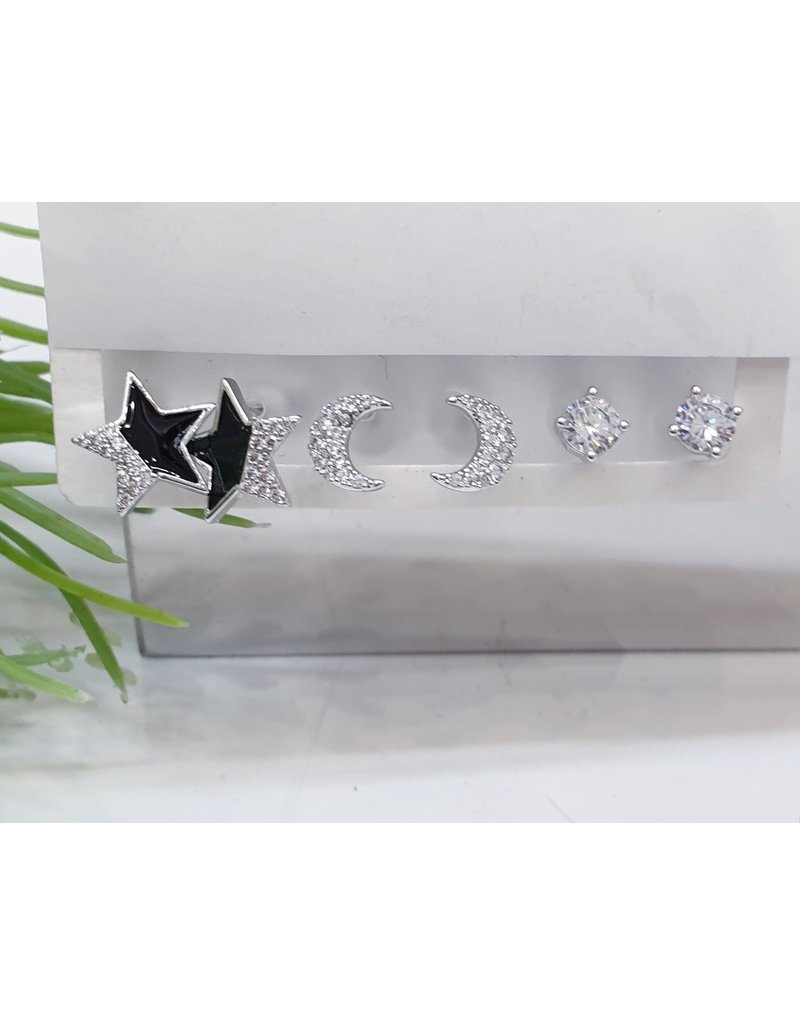 EMA0042 - Silver Star, Moon, Diamante,  Multi-Pack Earring