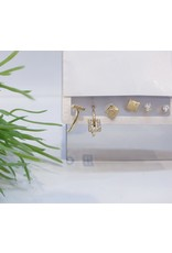 EMA0046 - Gold Square Stud, Diamante Stud, Drop Square,  Multi-Pack Earring