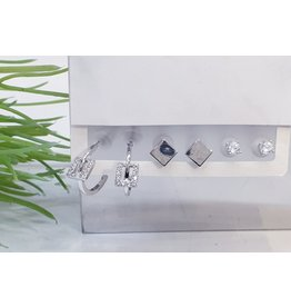 EMA0047 - Silver Square Stud, Diamante Stud, Drop Square,  Multi-Pack Earring