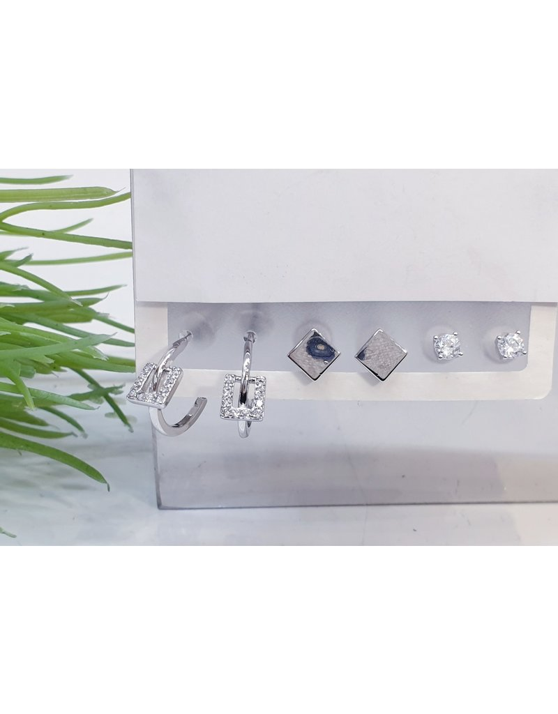 EMA0047 - Silver Square Stud, Diamante Stud, Drop Square,  Multi-Pack Earring