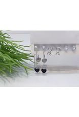 EMA0053 - Silver Ring, Diamante, Drop,  Multi-Pack Earring