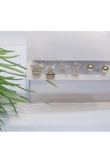 EMA0051 - Gold Bow, Bow Drop, Ball Stud,  Multi-Pack Earring