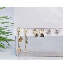 EMA0054 - Gold Ring, Diamante, Drop,  Multi-Pack Earring
