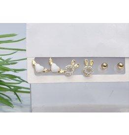 EMA0055 - Gold Bunny, Ball Stud, Heart Wings,  Multi-Pack Earring