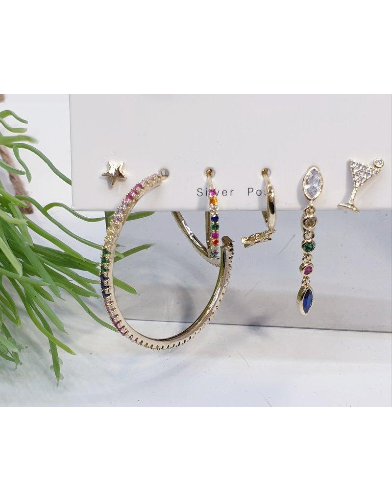 EMA0005 - Gold Hoop, Multicolour,  Multi-Pack Earring