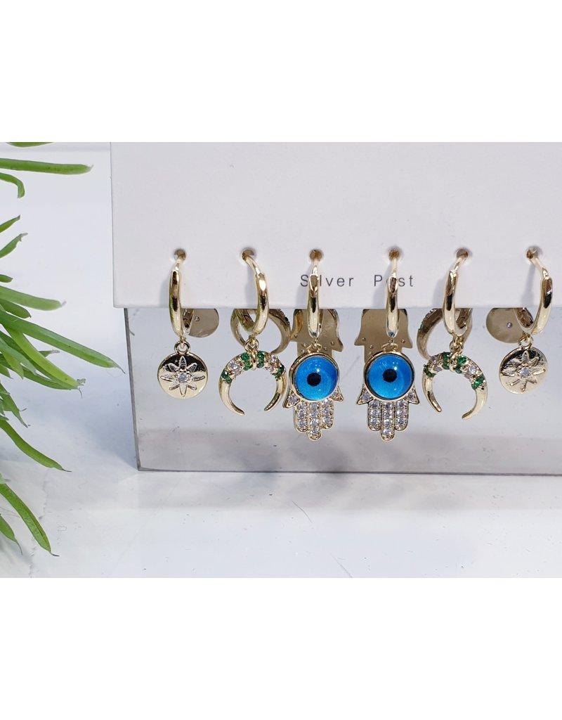 EMA0009 - Gold Evil Eye, Hoop Moon,  Multi-Pack Earring