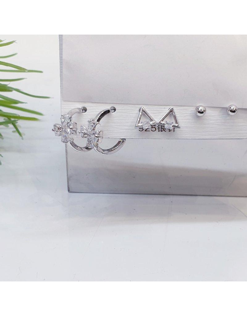 EMA0011 - Silver Triangle, Ball Stud, Drop Flower,  Multi-Pack Earring