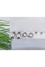 EMA0012 - Pewter Double Hoop, Ball, Circle With Diamante,  Multi-Pack Earring