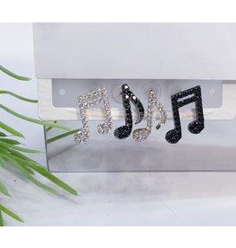 EMA0013 - Gold, Black Gold, Black, Music Notes,  Multi-Pack Earring