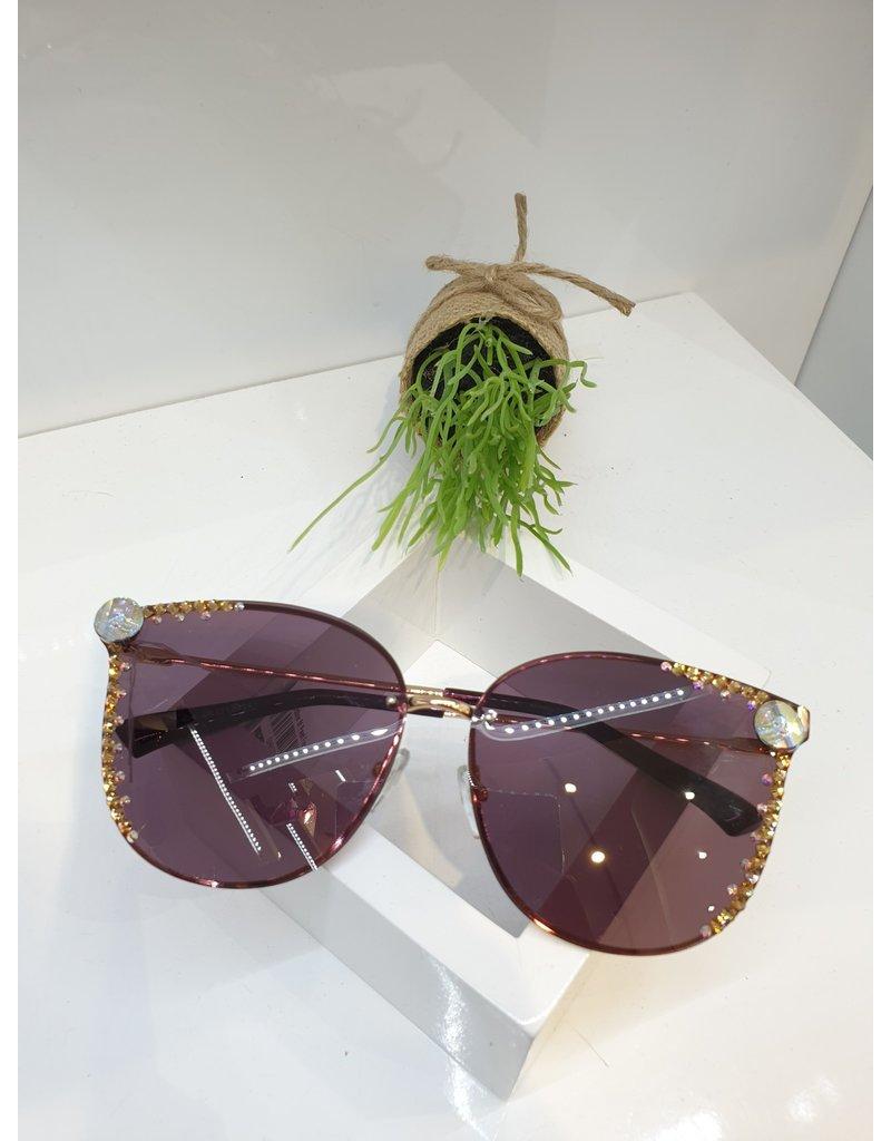 SNA0050- Gold Mother Of Pearl Frameless Bronze Sunglasses