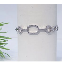Bjf0009 - Silver Circle, Rectangle Adjustable Bracelet