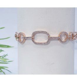 Bjf0016 - Rose Gold Circle, Rectangle Adjustable Bracelet