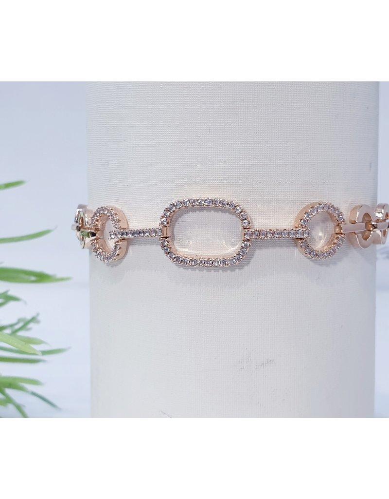 Bjf0016 - Rose Gold Circle, Rectangle Adjustable Bracelet