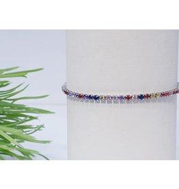 Bjf0026 - Silver, Multicolour Adjustable Bracelet