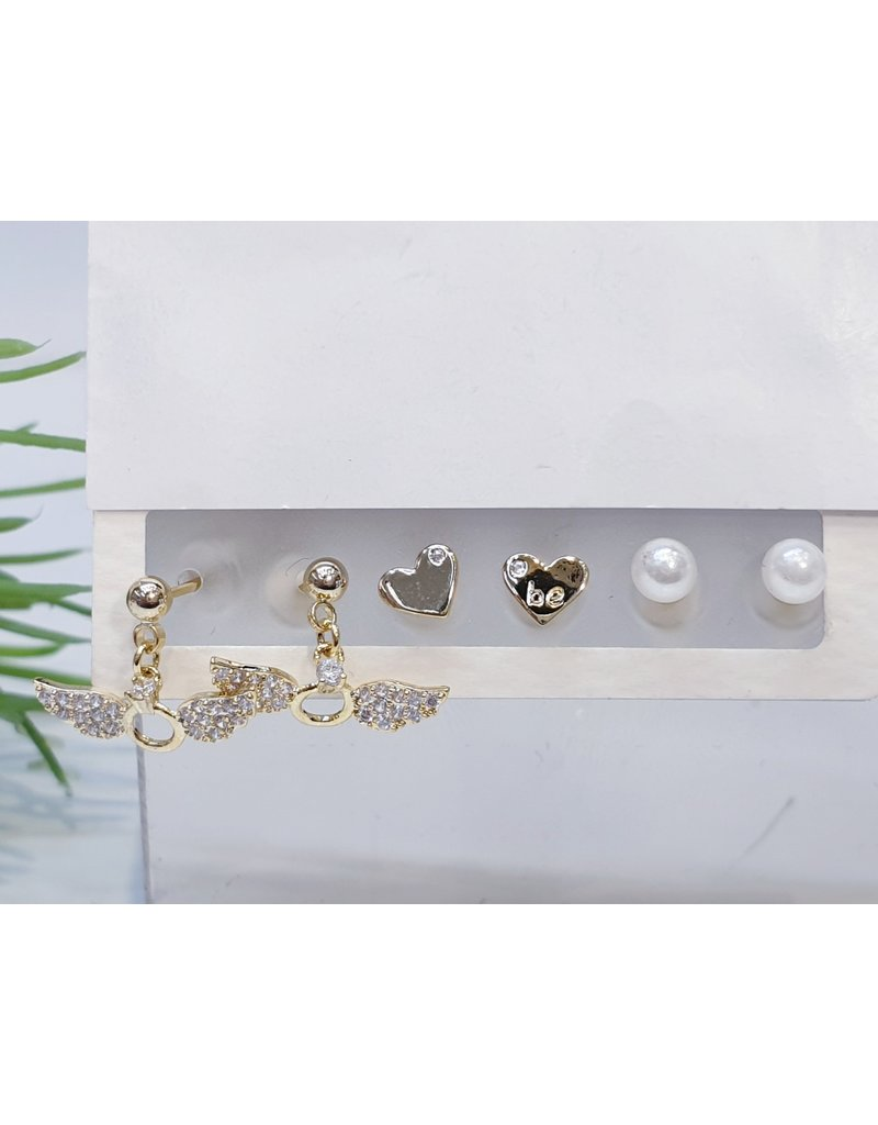 EMA0029 - Gold Ring With Wings, Heart, Pearl,  Multi-Pack Earring