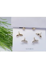 EMA0056 - Gold Kiss Me, Flower, Diamante, Pink,  Earring