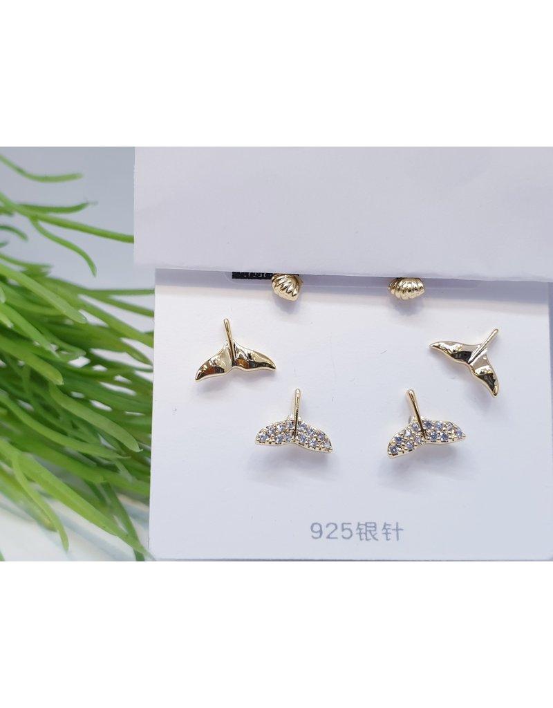 EMA0056 - Gold Love, Flower, Diamante, Pink,  Multi-Pack Earring