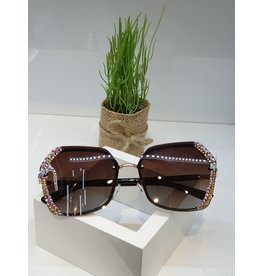 SNA0117- Gold Mother Of Pearl Frameless Rose Gold BrownSunglasses