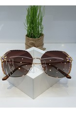 SNA0116- Gold Snowflake Mother Of Pearl Bronze Sunglasses
