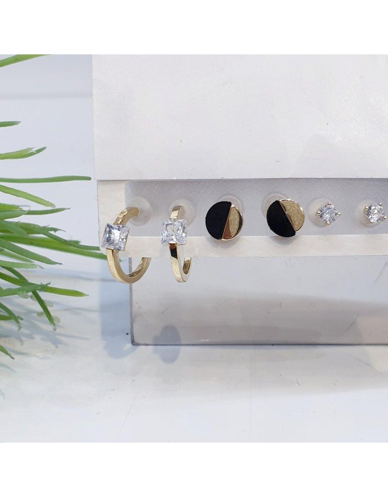 EMA0031 - Silver Bow, Silver Hoop, Ball Earring,  Multi-Pack Earring
