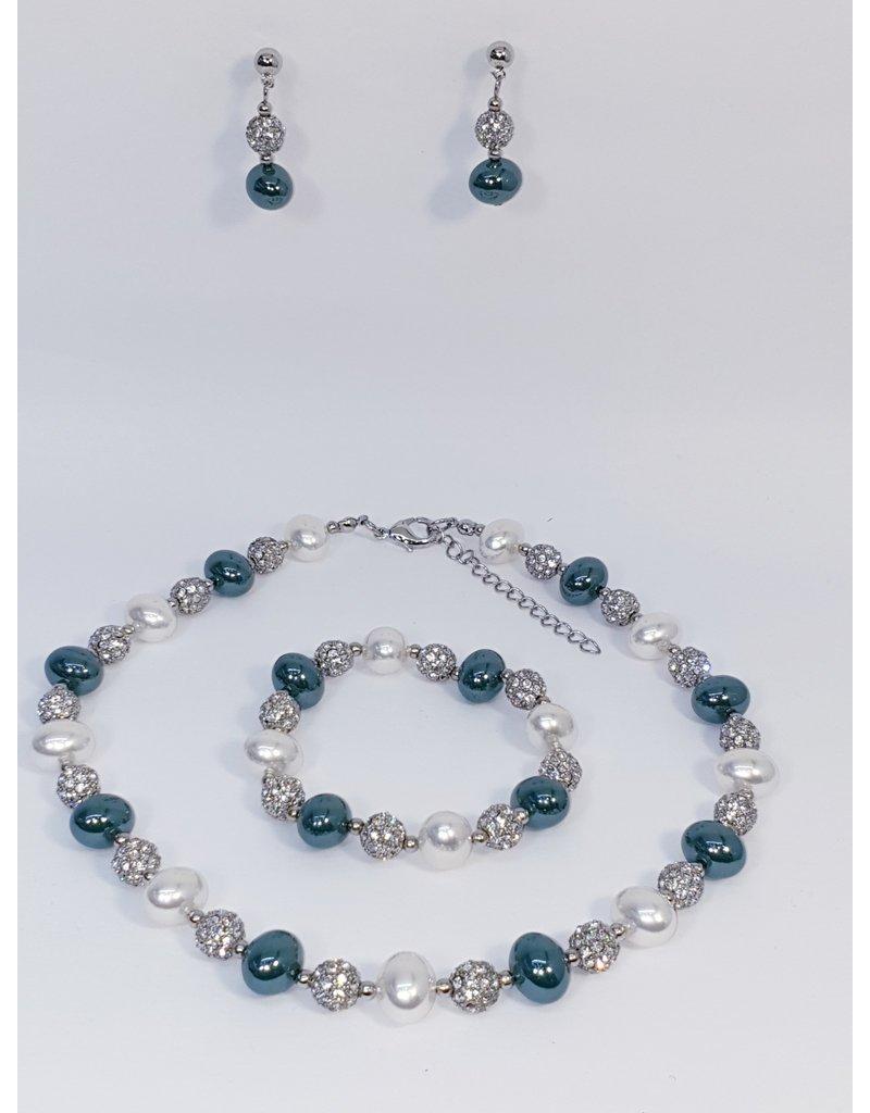 BSF0006 - Silver,  Ball Bracelet Set