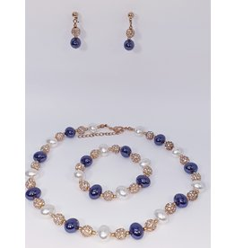 BSF0009 - Rose Gold, Purple, White Ball Bracelet Set