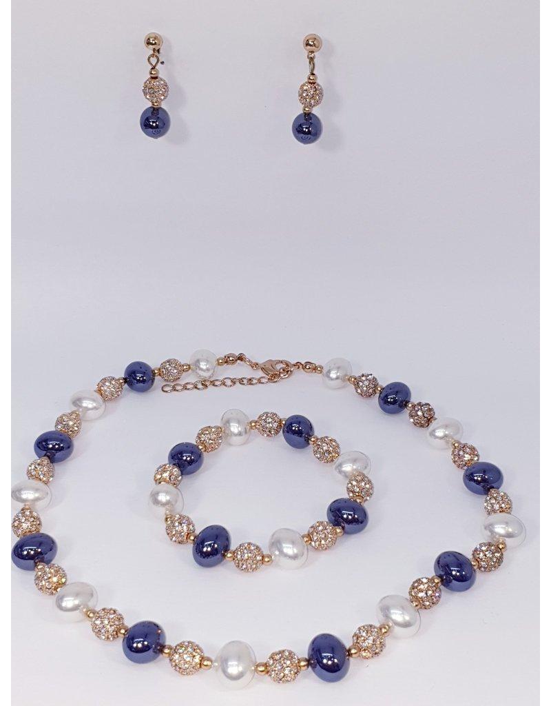 BSF0009 - Rose Gold, Purple, White Ball Bracelet Set