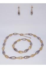BSF0010 - Rose Gold, Teardrop, Caramel Ball Bracelet Set