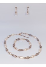 BSF0011 - Rose Gold, Teardrop Ball Bracelet Set