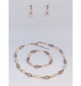 BSF0011 - Rose Gold, Teardrop Ball Bracelet Set