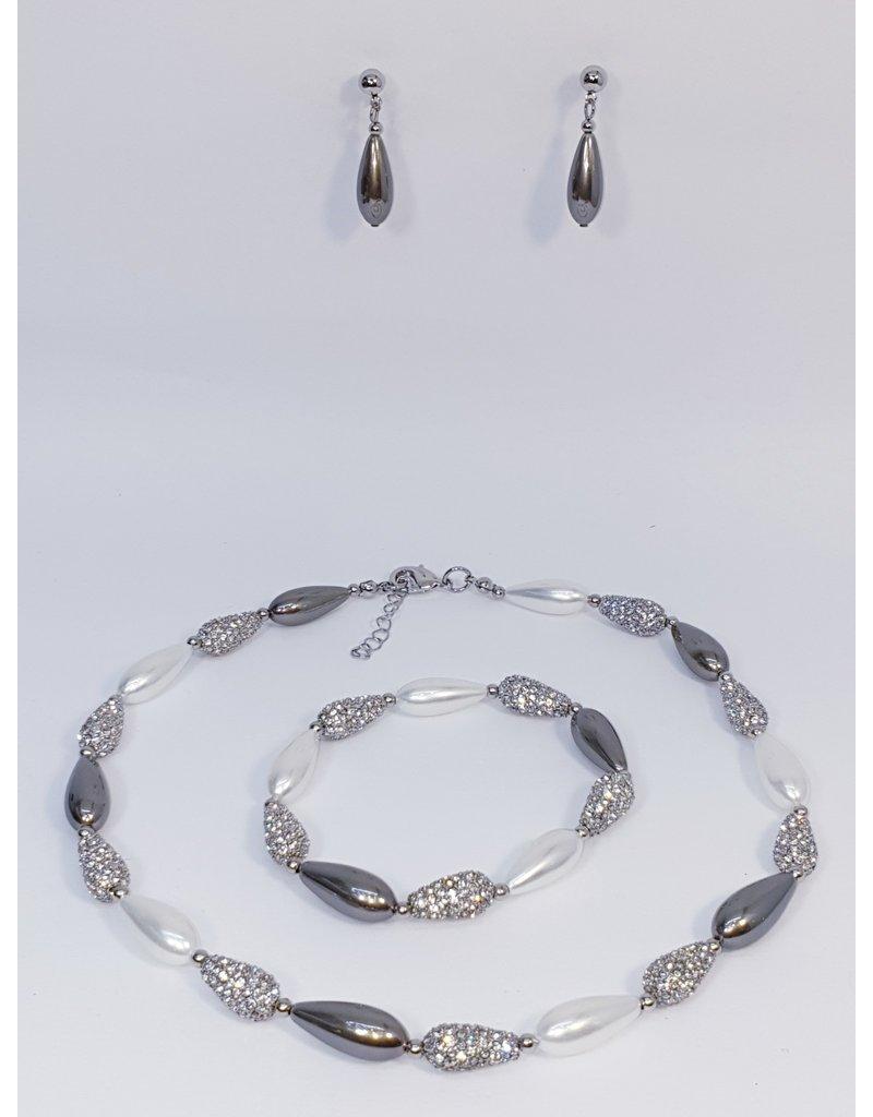 BSF0012 - Silver, Teardrop, Pearl Ball Bracelet Set