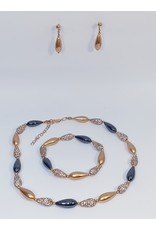 BSF0013 - Rose Gold, Teardrop, Black Ball Bracelet Set