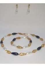 BSF0014 - Gold, Teardrop, White, Black Ball Bracelet Set