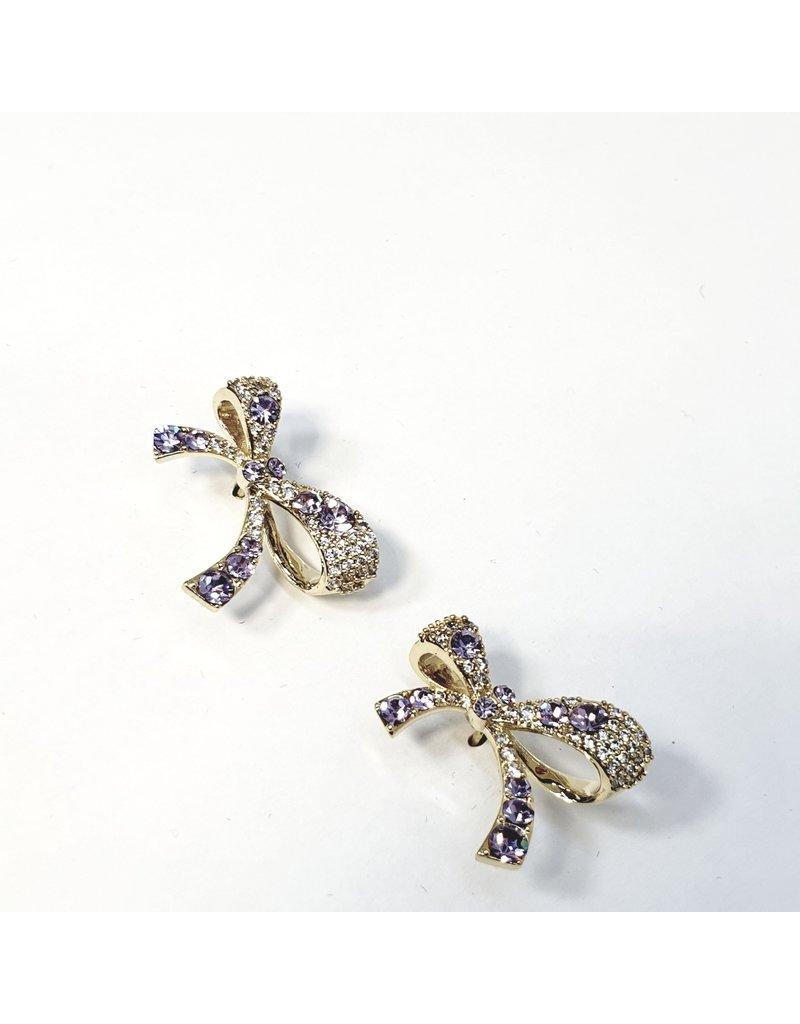 ERH0262 - Gold Purple Bow  Earring