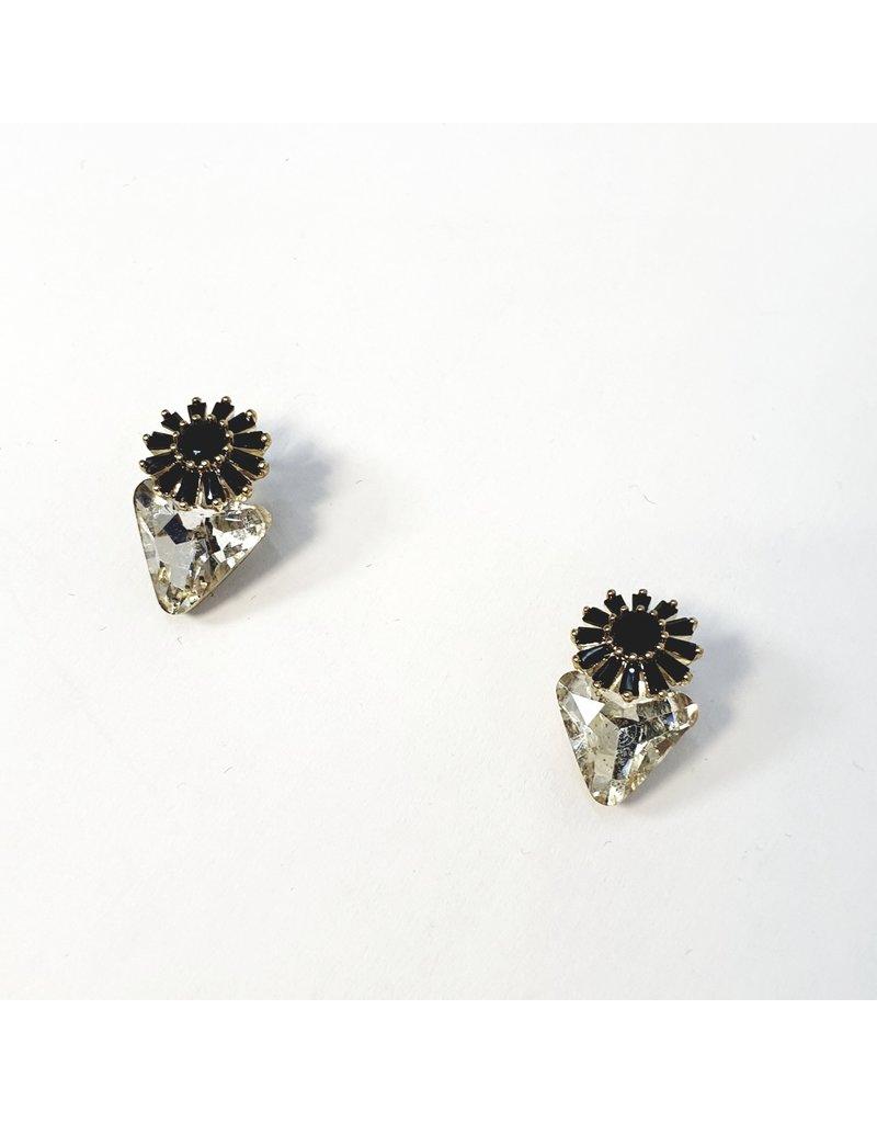 ERH0264 - Gold Black Flower Triangle  Earring