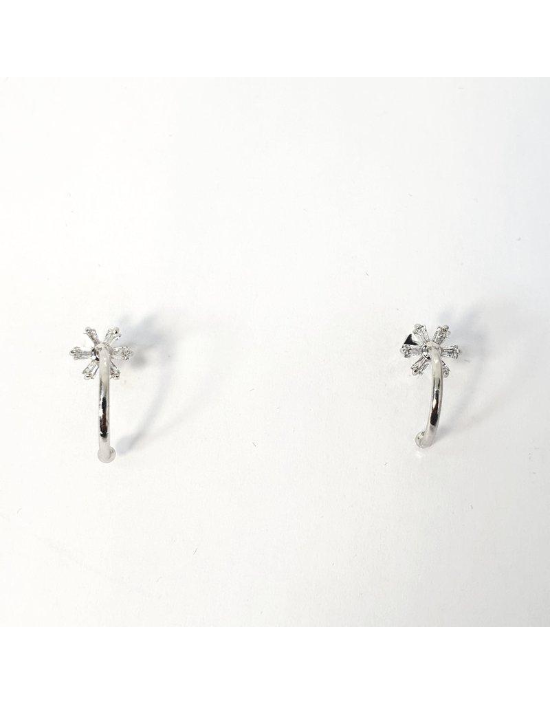 ERH0291 - Silver Hoop Star  Earring