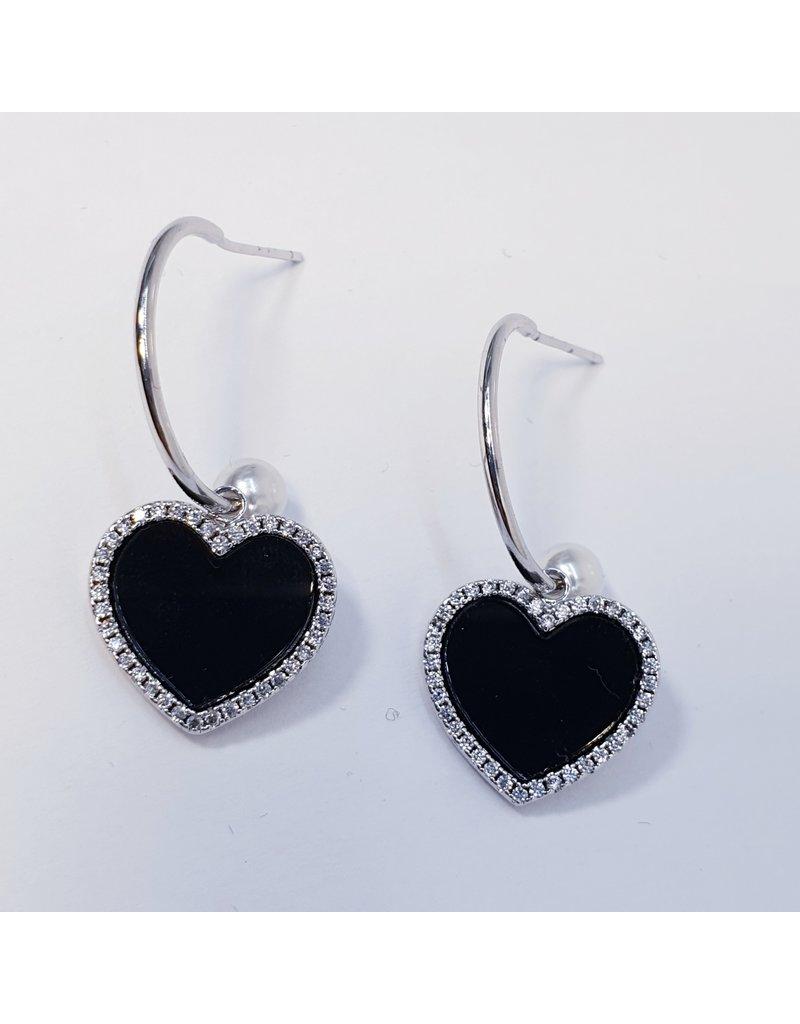 ERH0315 - Silver Black  Earring