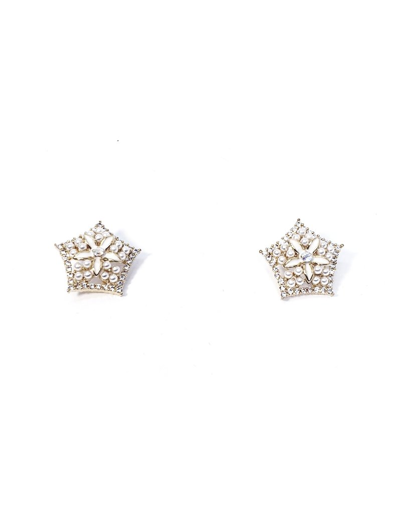 ERH0328 - Gold Pearl Hexagon  Earring