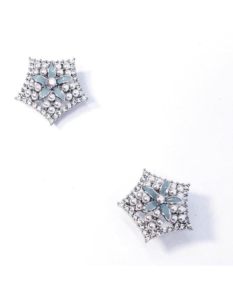ERH0329 - Silver Pearl Hexagon  Earring