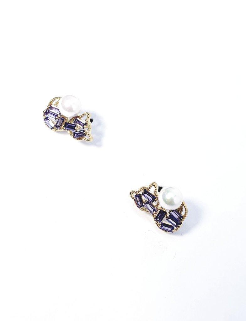 ERH0348 - Gold Purple  Earring
