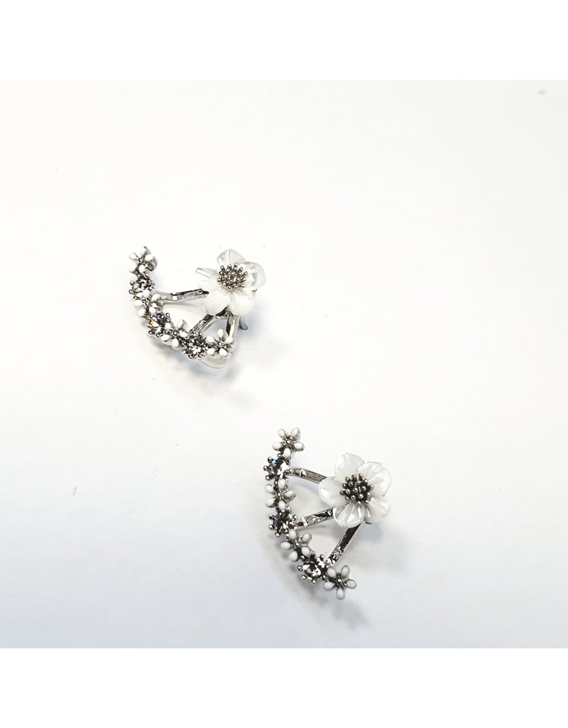 ERH0351 - Silver Flowers  Earring