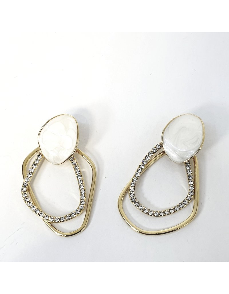 ERH0356 - Gold Cream  Earring