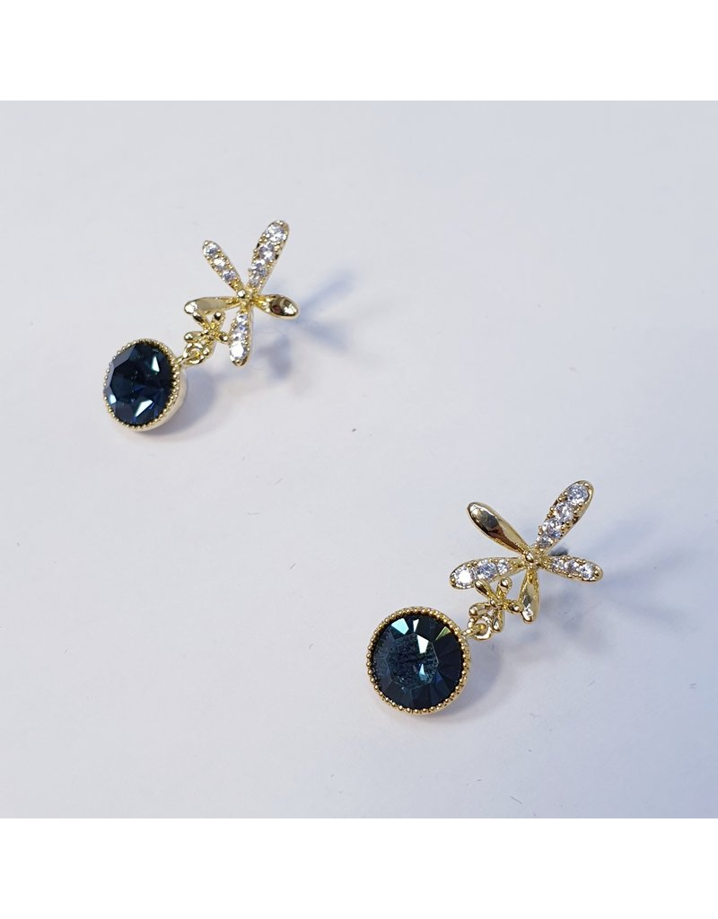 ERH0365 - Gold Blue  Earring