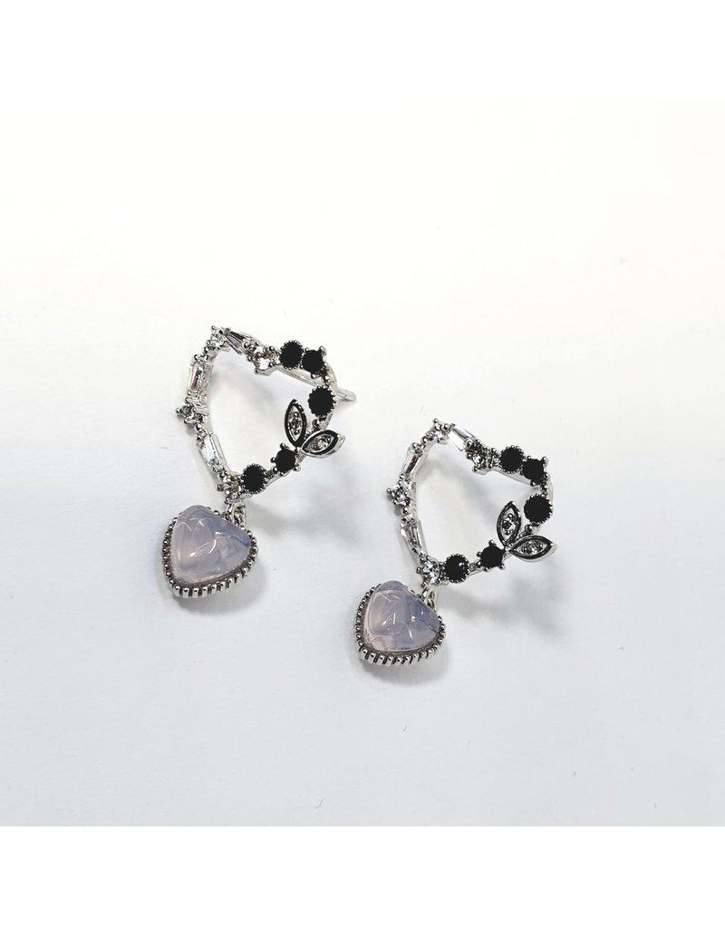 ERH0375 - Silver Lilac Hearts  Earring